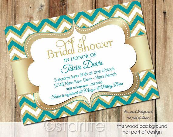 Chevron turquoise gold bridal shower invitation by starwedd bride chevron turquoise gold bridal shower invitation by starwedd filmwisefo Gallery