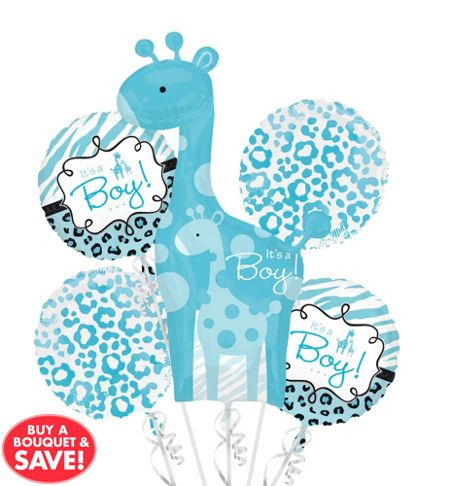 Welcome The Baby Boy With Our Blue Safari Baby Shower Balloon Bouquet! Blue  Safari Baby Shower Balloon Bouquet Includes Giraffe And U0027Itu0027s A Boy!