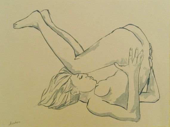 Line Art Figures : Female nude art original painting drawing water colour yoga pose