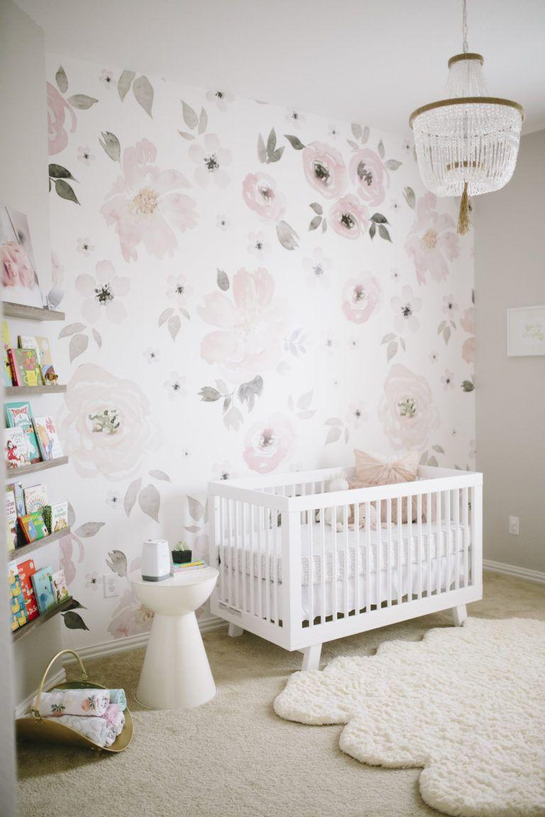 Watercolor Flower Jolie Wallpaper in Pink and Gray Girl's Nursery