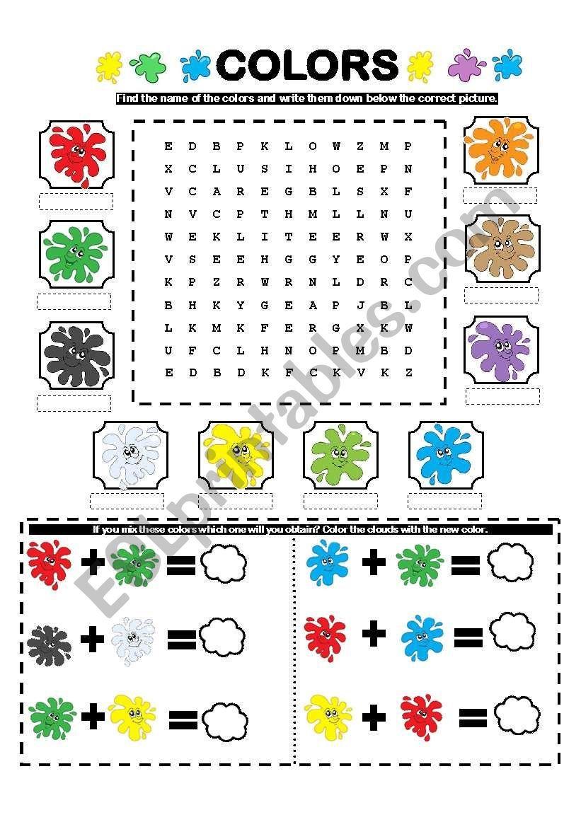 Colors Wordsearch Mixing Colors Esl Worksheet By La Luna Color Mixing Color Activities Color Color mixing worksheet preschool