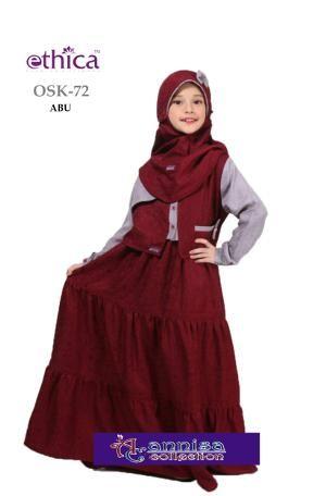 Baju Gamis Anak Ethica Osk 72 Abu Ready Size 8 Ramadhan Sale