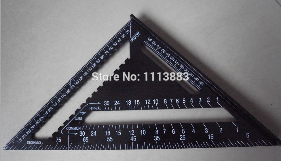 12inch/300mm Black Aluminum Alloy Speed Square Rafter Triangle Angle ...