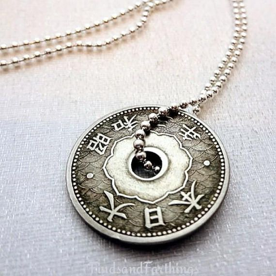 83ac59eb4131 Antique Japanese coin necklace - 10 sen coin - Japan necklace - Japan  jewelry - antique
