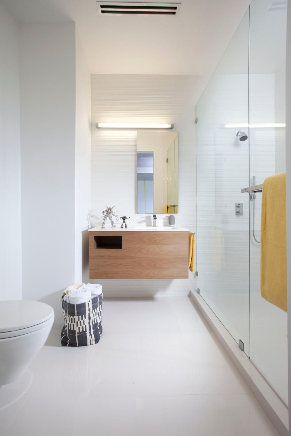 a floating vanity in this kid s bathroom stays true to the home s rh pinterest com