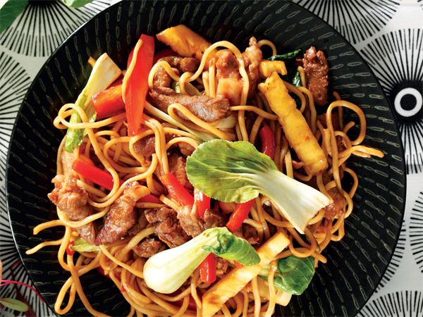 Pork and noodle stir-fry. Pork is tender and versatile – and if you cut away visible fat it's lean too.