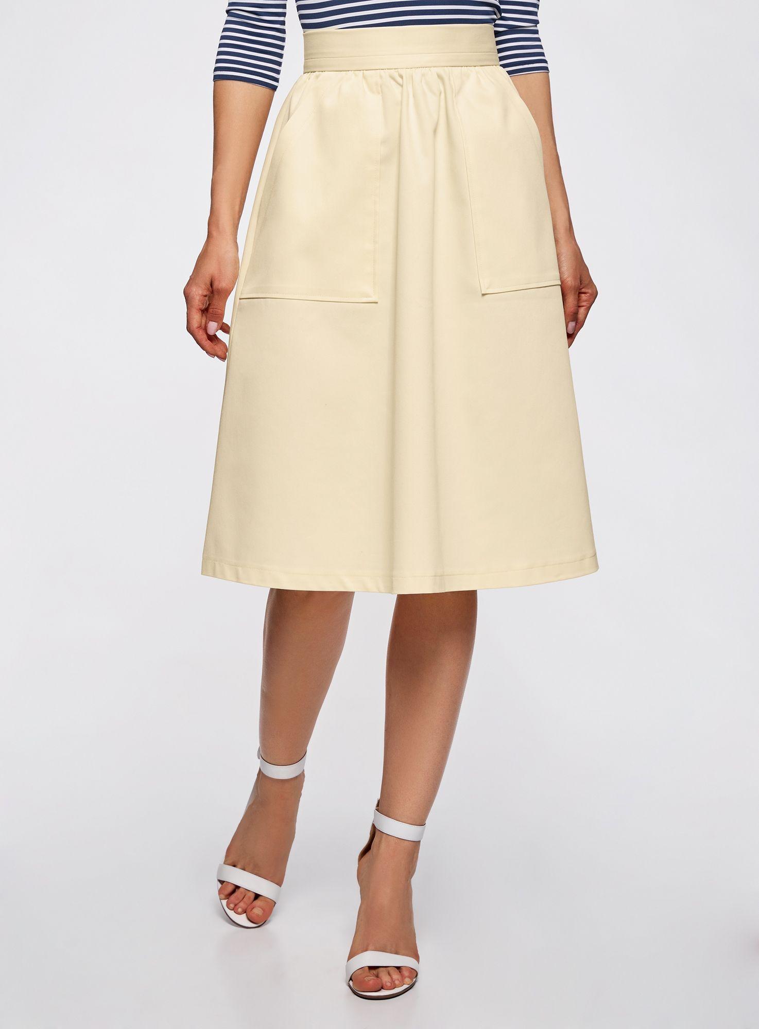 летняя юбка с накладными карманами