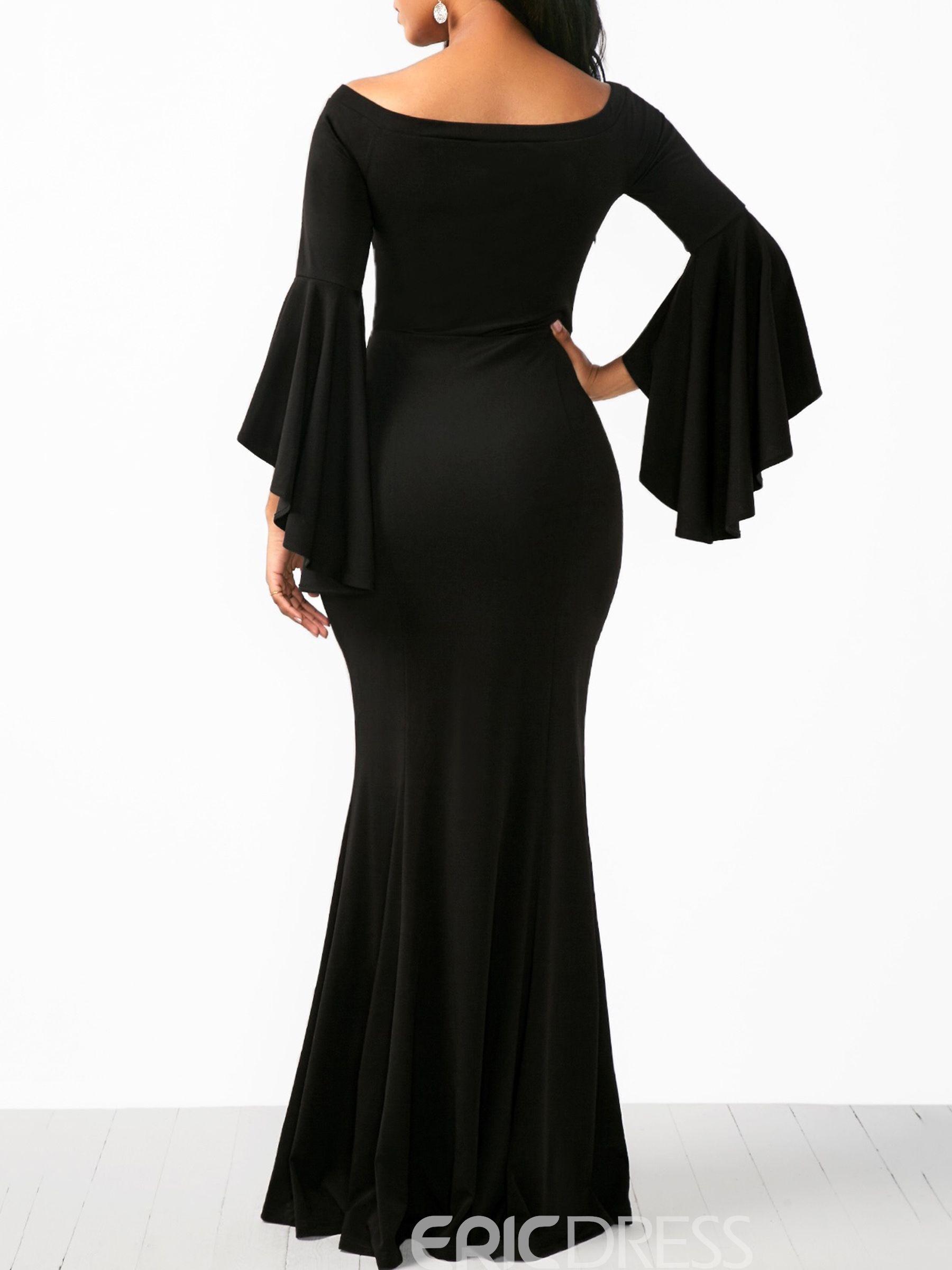 bfb092219fd Ericdress Black Ruffle Sleeve Plain Women s Maxi Dress