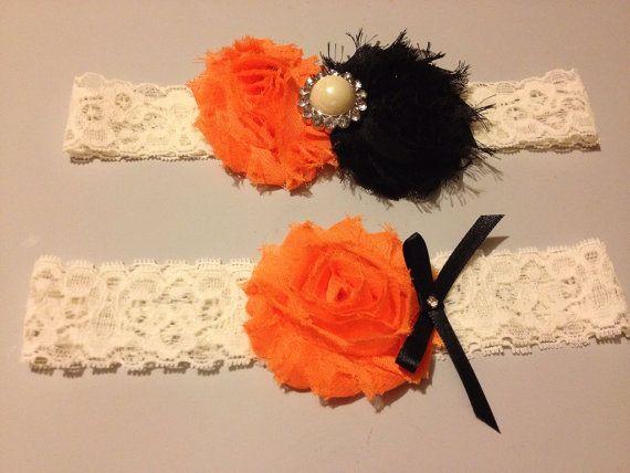 Orange And Black Wedding Garter Set Ivory By HopesBridal 2100 This Might Be It