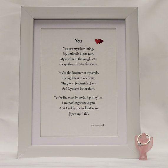 You  Wedding Proposal Bespoke Framed Poetic by ScriptedforYou