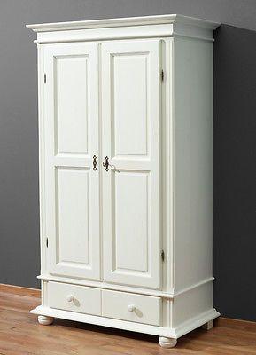 Kleiderschrank 2 Turig Fichte Massiv Weiss Lasiert Landhaus Dielenschrank Neu Dielenschrank Ikea Schrank Weiss Schrank