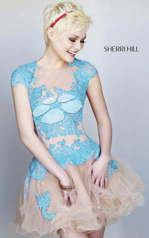 Sherri Hill 11153 Light Blue Nude Floral Mini Dress