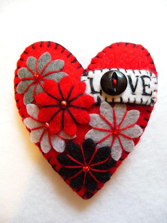 Turquoise Or Hot Red Love Heart Shape Handmade Felt Brooch For