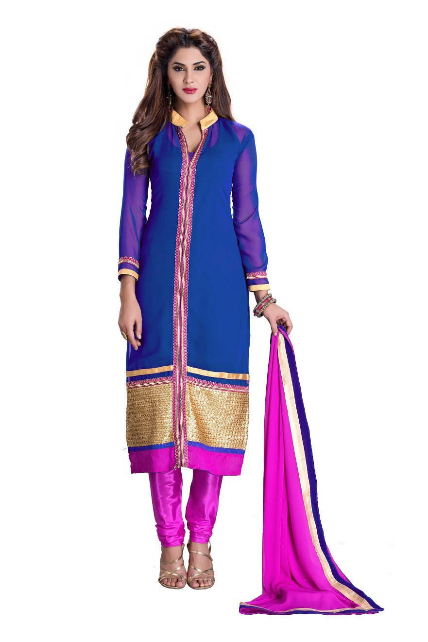Melluha Blue Georgette Dress Material