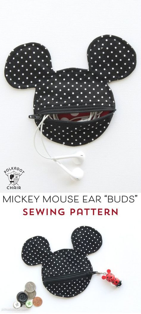 Mickey Mouse Inspired Earbud Pouch Sewing Pattern | Nähen für kinder ...