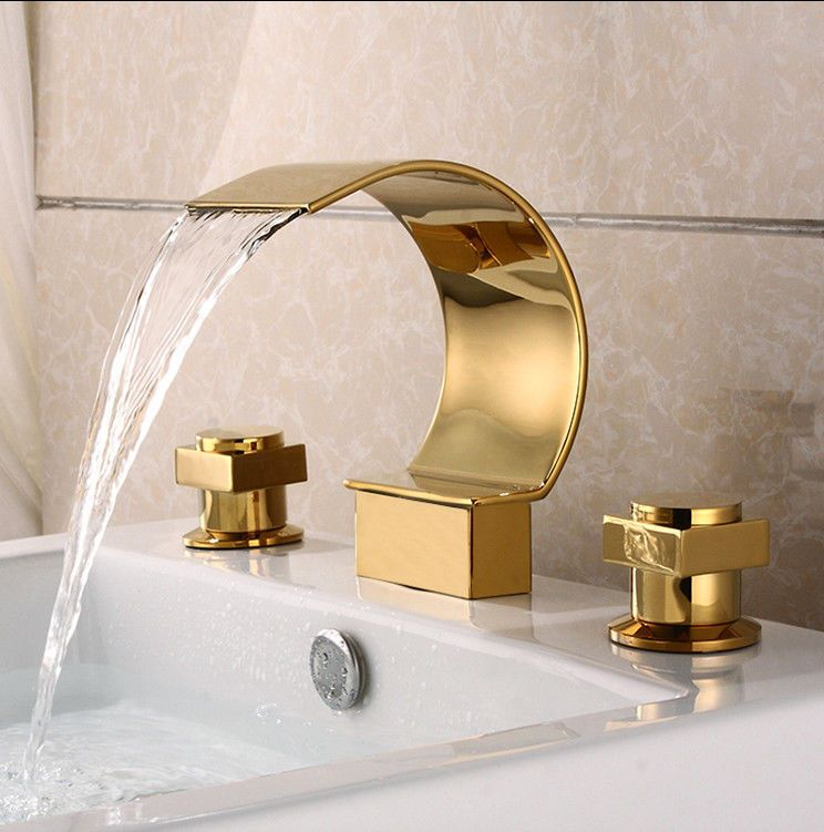 Gold Polished Waterfall Bathroom Sink Faucet Widespread 3 Holes ...