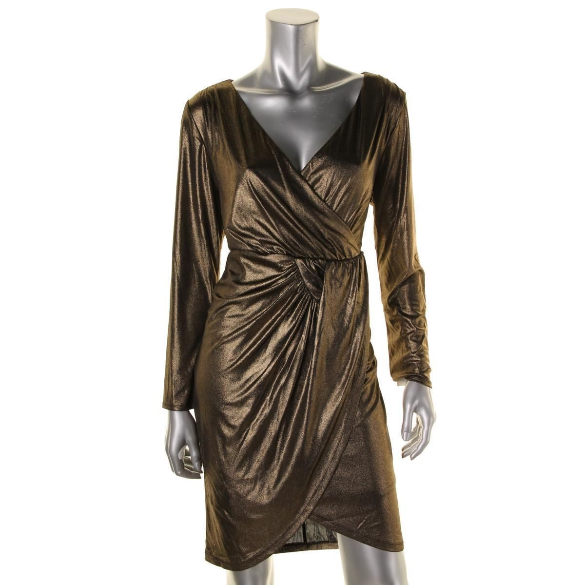 Nice awesome thalia sodi womens gold shimmer long sleeves party