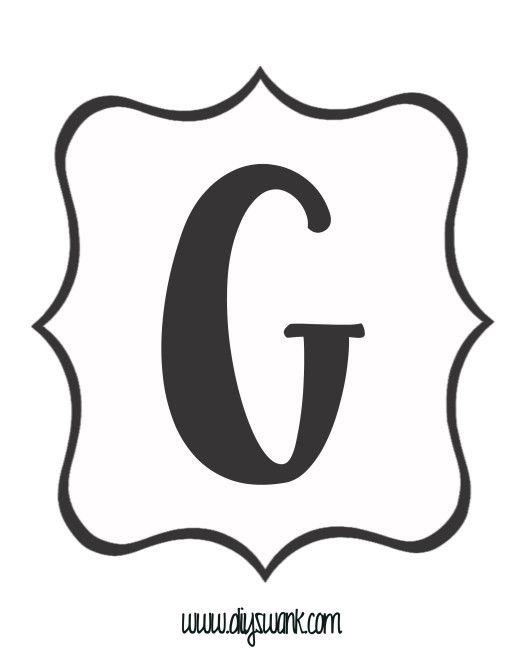 free printable black and white banner letter_g