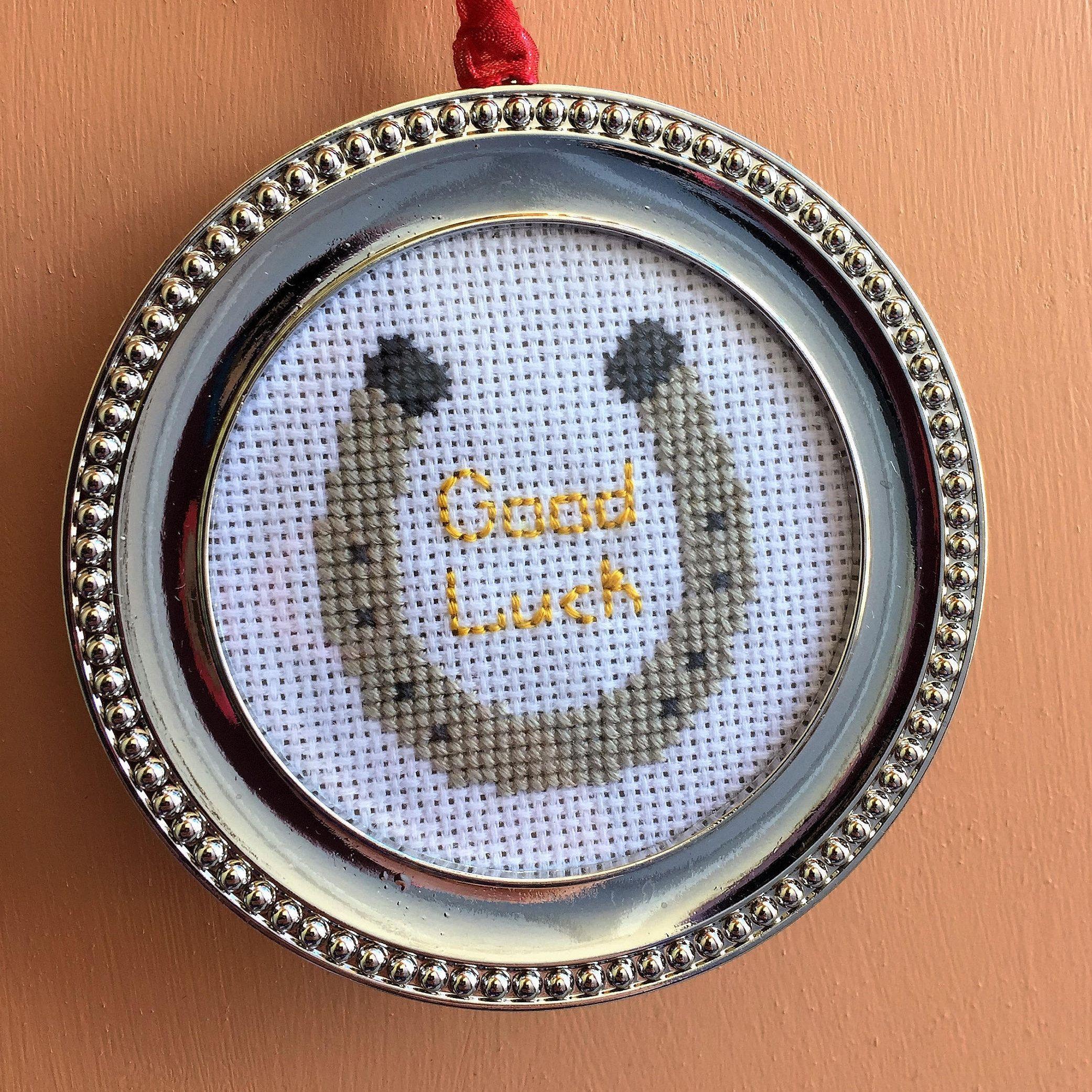 Handmade Good Luck Horseshoe Cross Stitch In Metal Frame