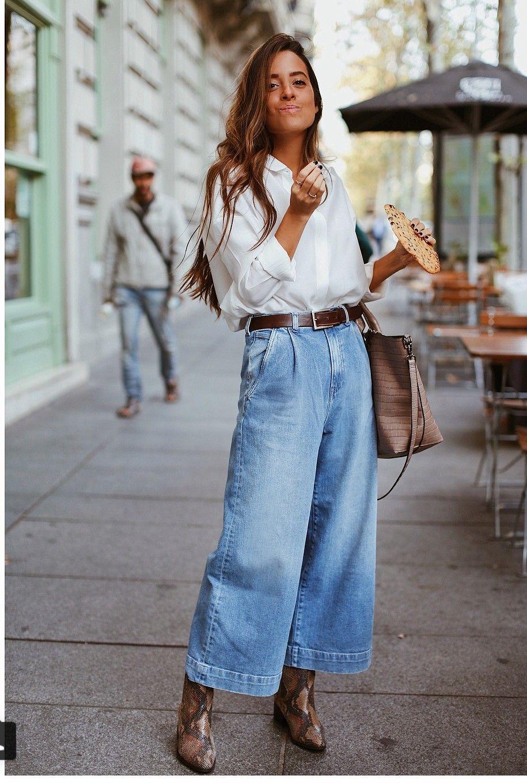 Flared vintage denim, white long sleeve blouse, classic looks