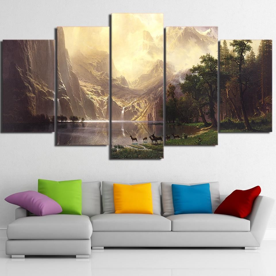 5 Pcs Canvas Art Mountain Lake Deers Hd Printed Wall Art Home Decor