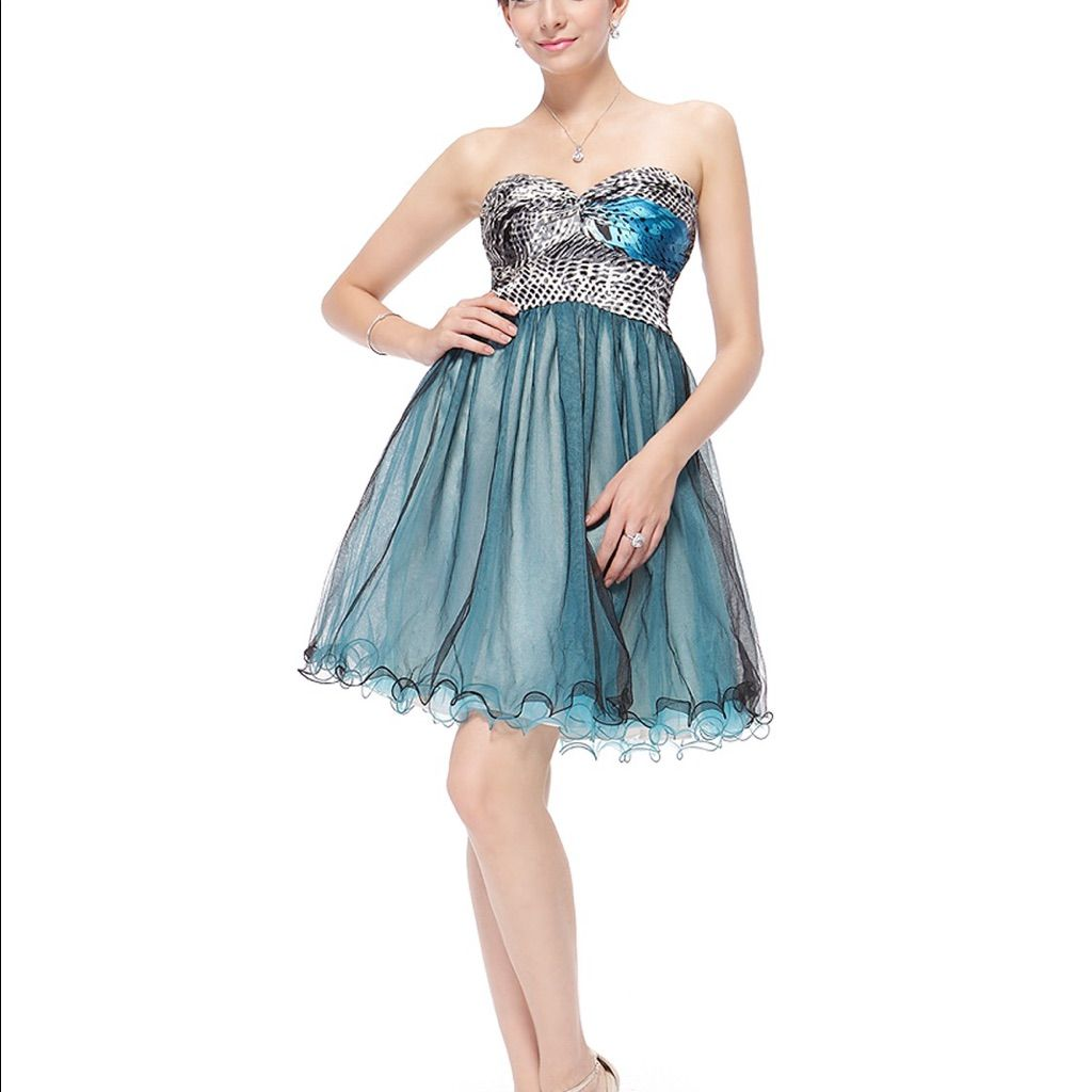 Cute strapless tulle short dress size products