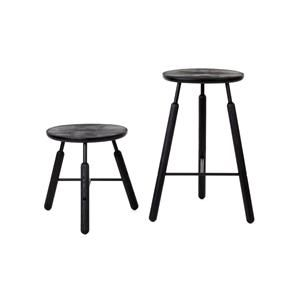 Raft Stool NA4 by NORM - the taller version of the NA3 stool. Materials: powdercoated steel and sandblasted oak.  Options:  Oak / with white frame OR   Black painted Ash.  Also available is matching low stool, and dining table.