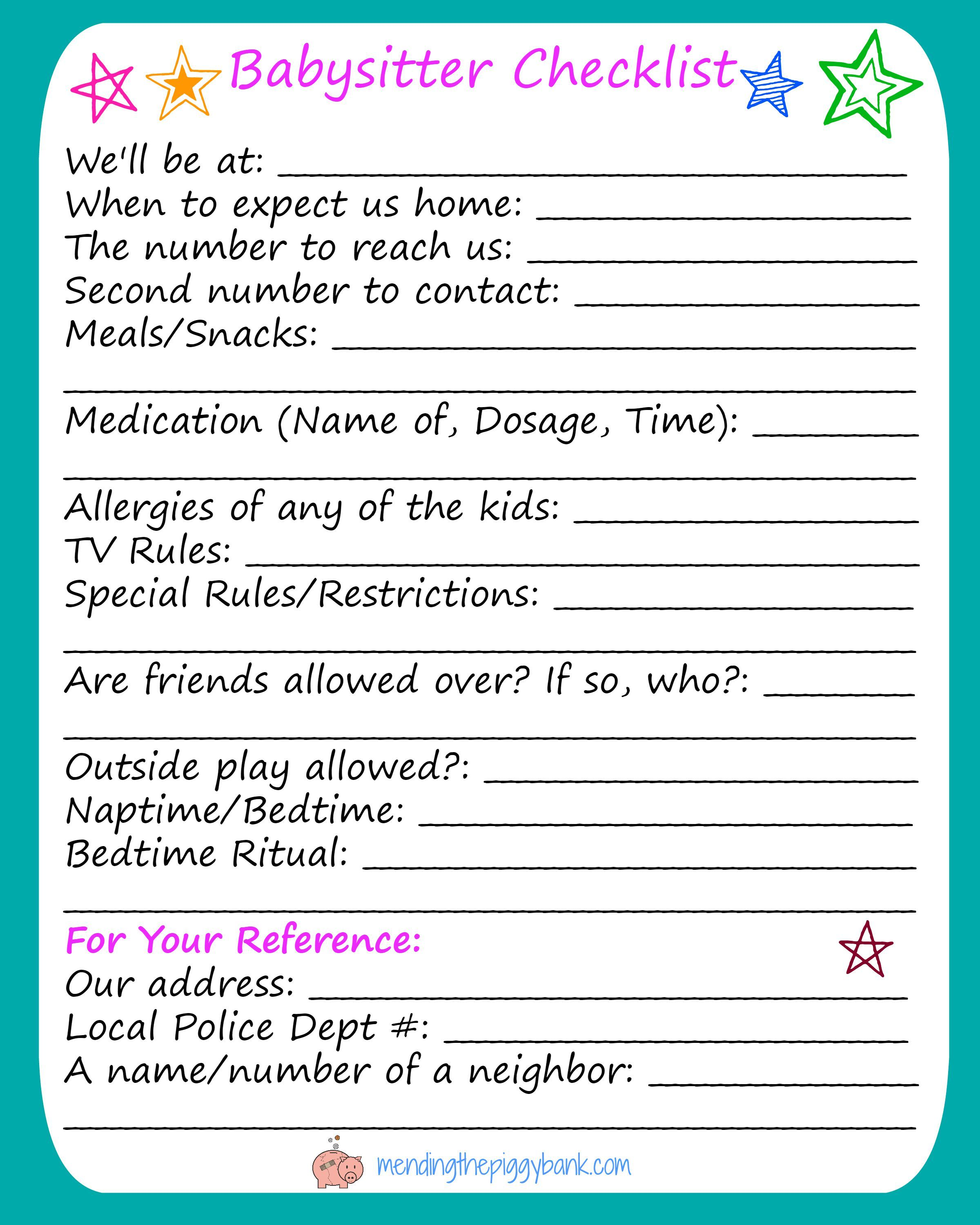 babysitting checklists elita aisushi co
