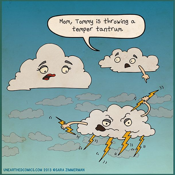 Science and meteorology cartoon about the origin of lightning