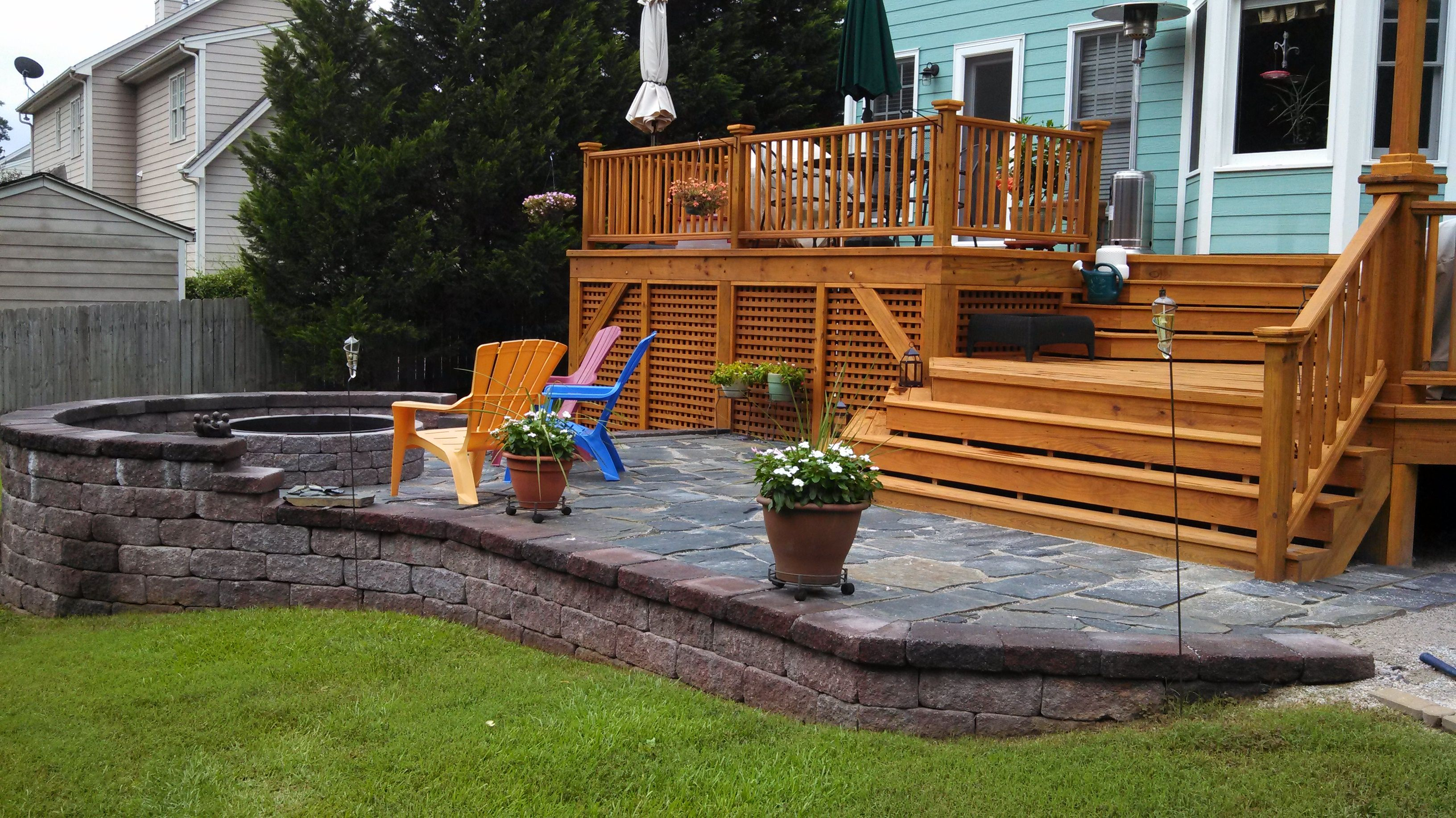 custom built wood deck and stone patio backyard inspiration in rh pinterest com