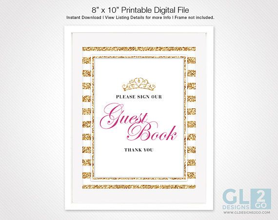 princess guest book table sign w tiara crown girl baby shower rh pinterest co uk