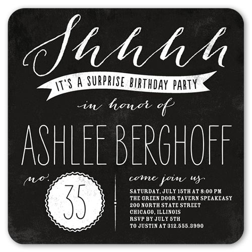 Adult Surprise Birthday Invite Male Birthday Invitations - Black and white 30th birthday party invitations
