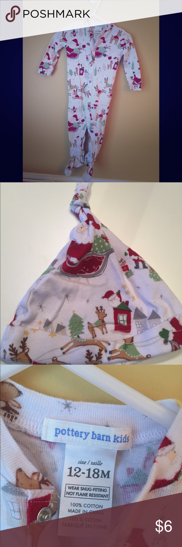Pottery Barn Kids Christmas sleeper with hat🎄 Pottery