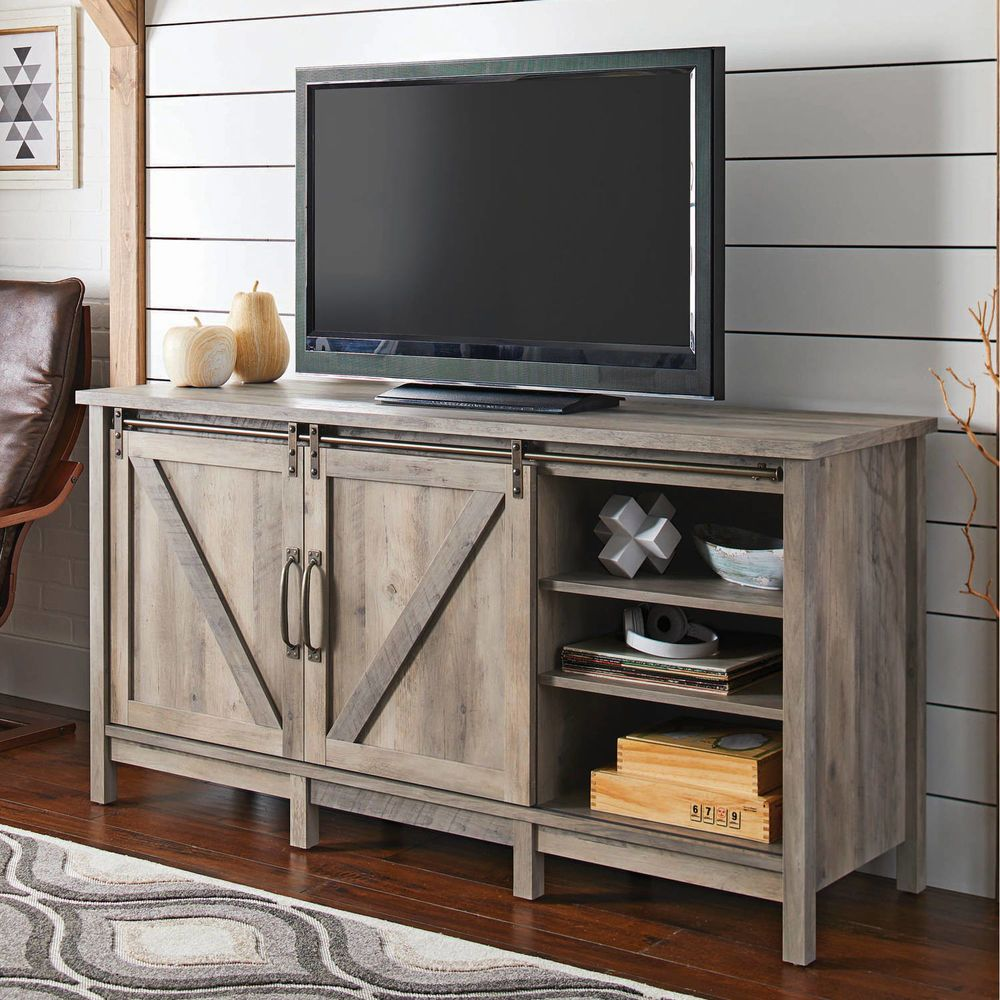 Rustic Entertainment Center Farmhouse Country Style Barn Door Tv Stand Console Betterhomesandgardens