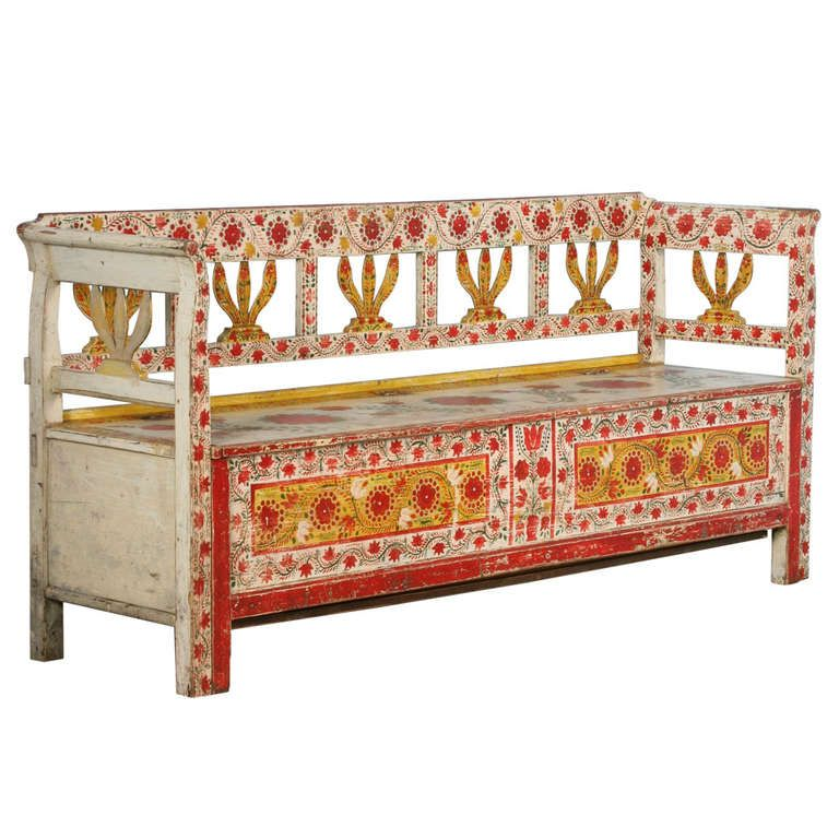 Antique Highly Painted Red Romanian Bench with