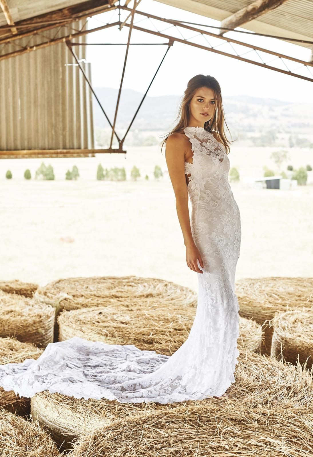 Grace loves lace high neck open back and fishtail skirt with