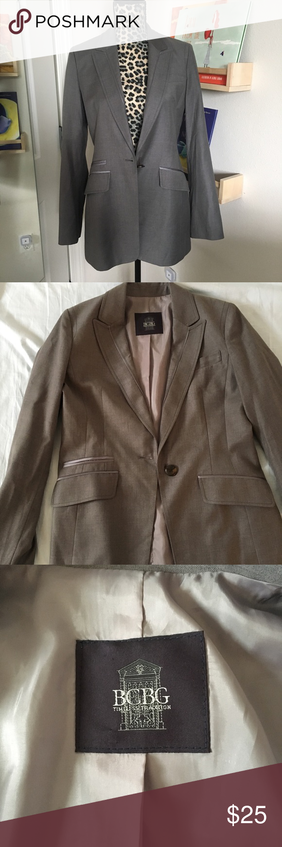 c9e3db8febaaf BCBG slim tuxedo style blazer Tuxedo style blazer Very slimming Nice gray  color It s from Korea so the sizing is weird but it s like a size 2 or 4 I  can get ...