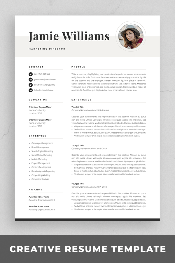 Creative Resume Template With Photo Elegant Design Modern Etsy Creative Resume Templates Resume Template Resume References