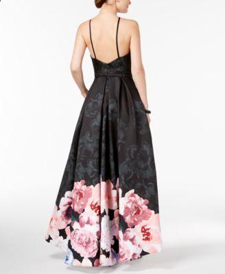 5b4bdedfefb Xscape Floral-Print High-Low Gown - Black 8