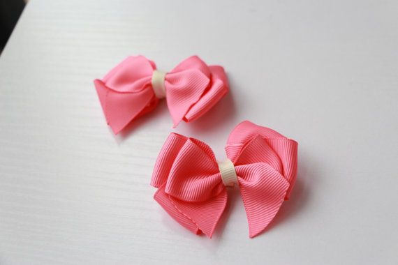 Coral pink grosgrain bow hair clip by SayYouLove on Etsy, $7.00