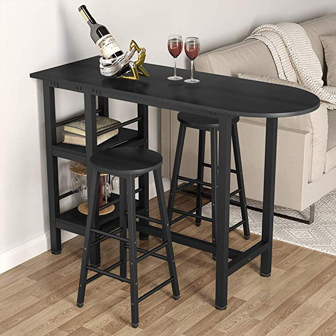 Amazon Com Tribesigns 3 Piece Pub Table Set With Storage Shelves