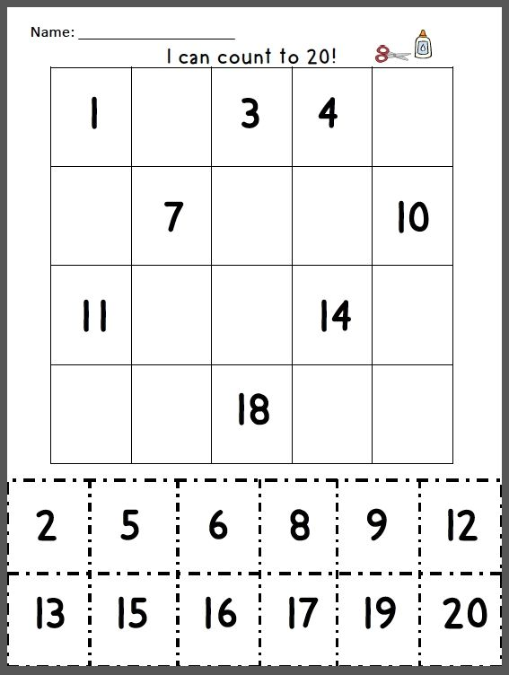 Free Math Cut And Paste Numbers 1 20 Games Coloring Page