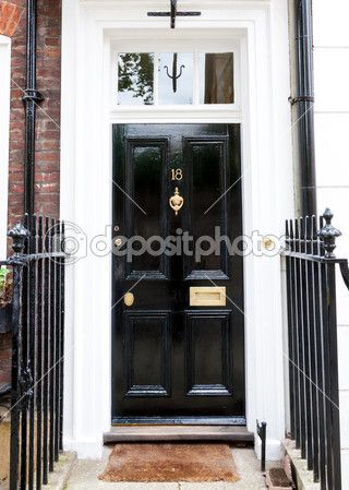 Haustüren englischer landhausstil  Traditionelle englische viktorianische Haustür — Stockbild ...