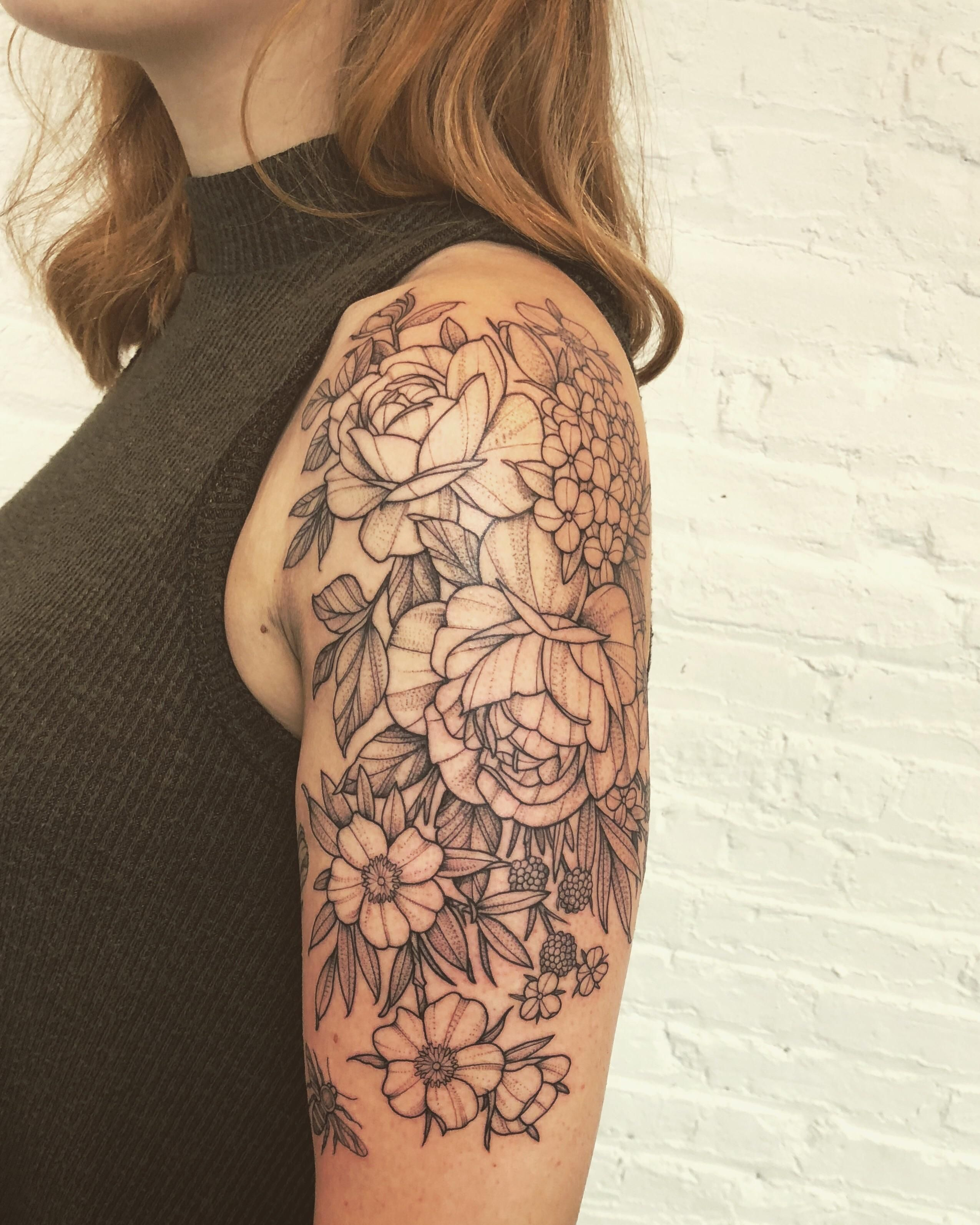 Assorted florals by Black Iris Tattoo co-owner John - Brooklyn, NY
