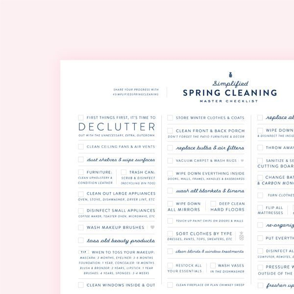 Free Printable Spring Cleaning Checklist Emily Ley Spring