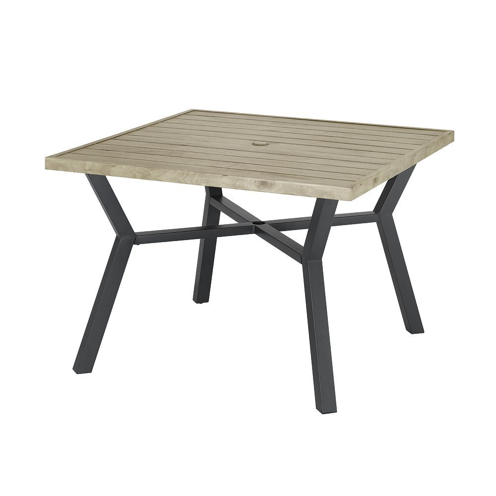 Stylewell Mix Match Square 42 Inch X 42 Inch Patio Slat Dining Table The Home Depot Canada In 2021 Patio Dining Table Round Patio Table Dining Table