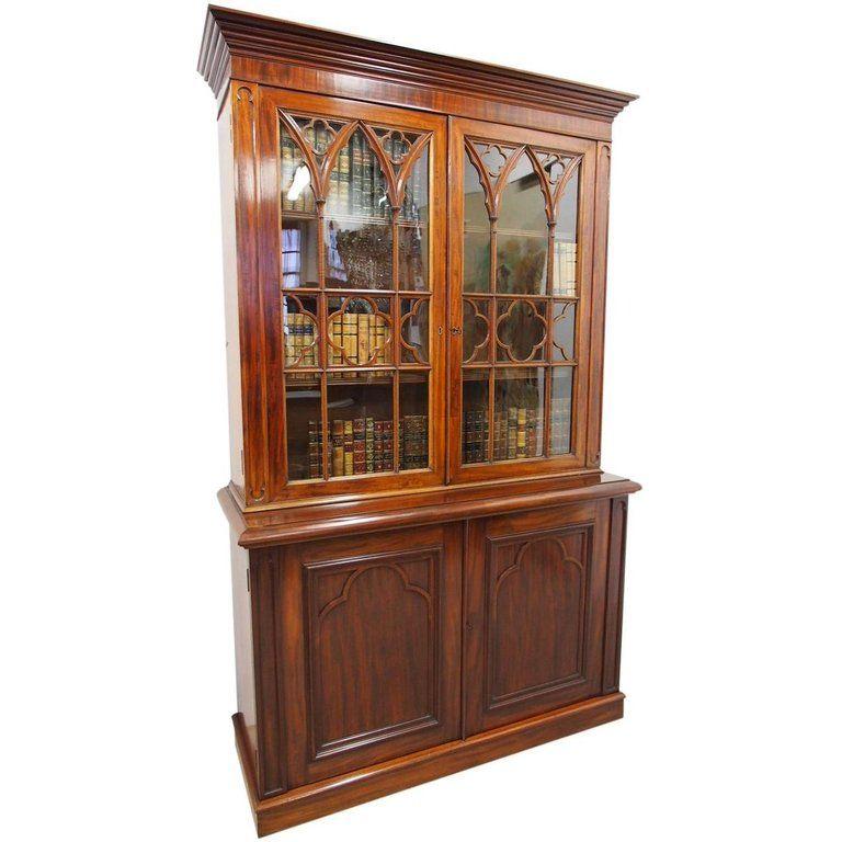1stdibs Mahogany Style Cabinet Gothic Bookcase Mahogany Cabinets Vintage Bookcase Gothic Bookcase