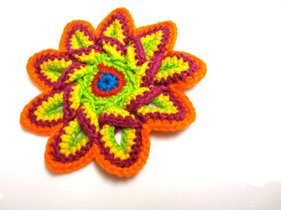 Crochet Applique Pattern Crochet Flower Applique By Slappytheseal