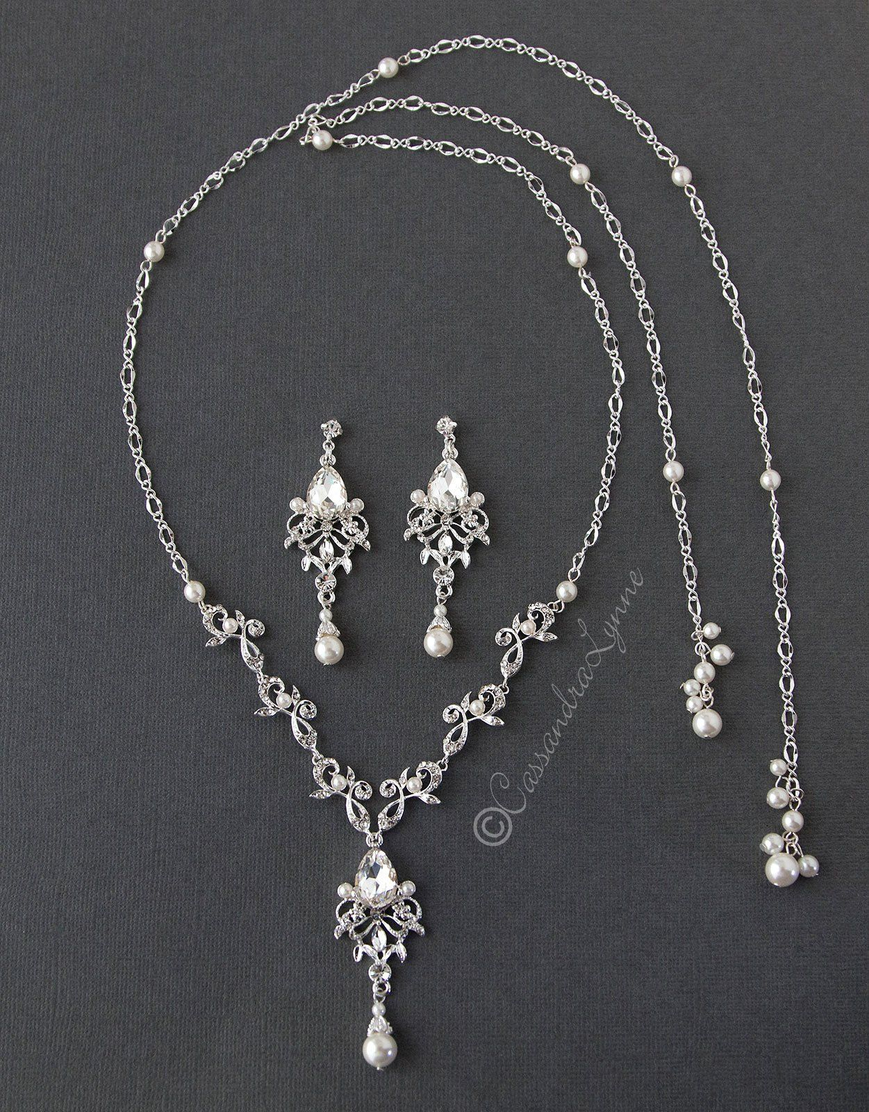 Crystal and pearl tie back drop necklace set bridal