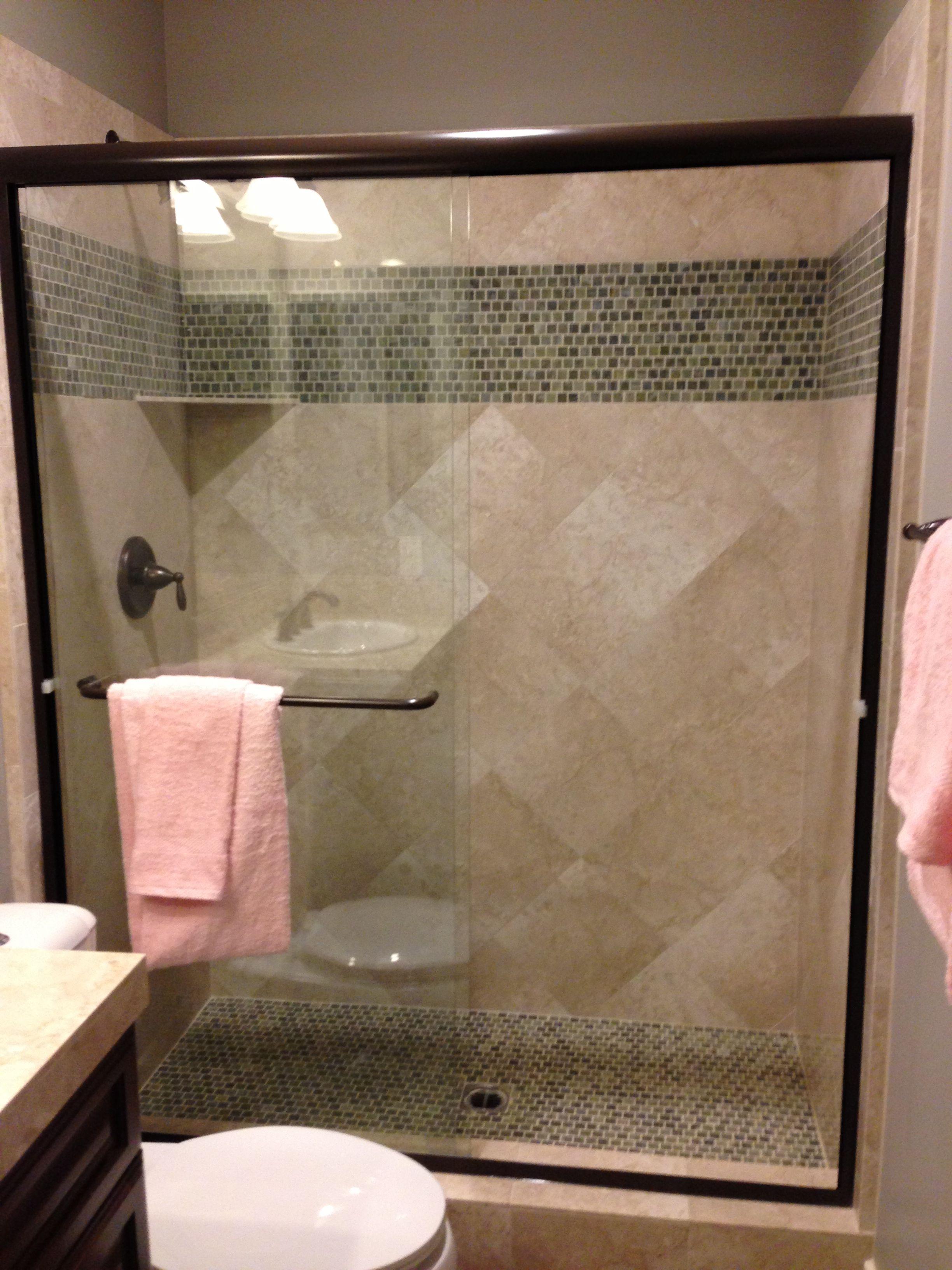 colored glass tile shower floor bathrooms Pinterest Shower